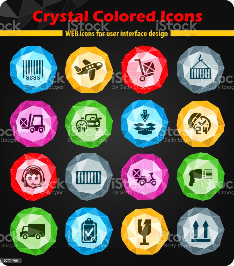 delivery service icon set vector art illustration