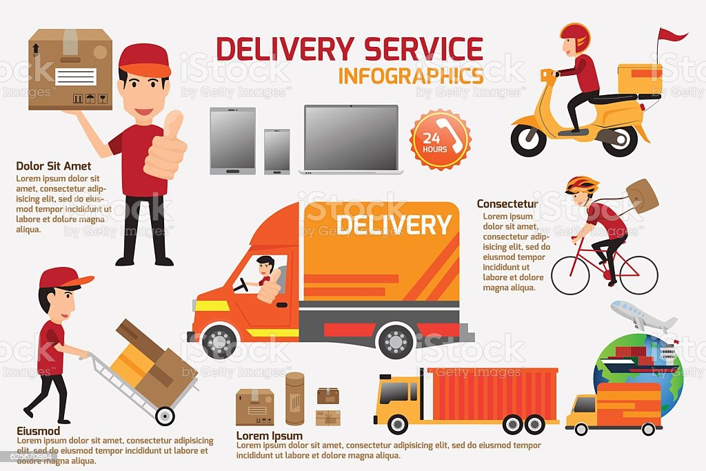 Delivery service infographics elements. Detail of people in unif vector art illustration