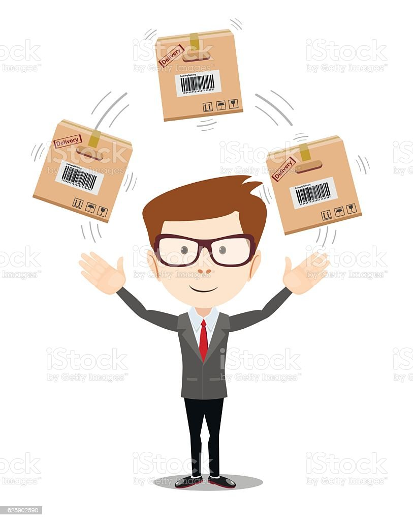 delivery service man with box on white background vector art illustration