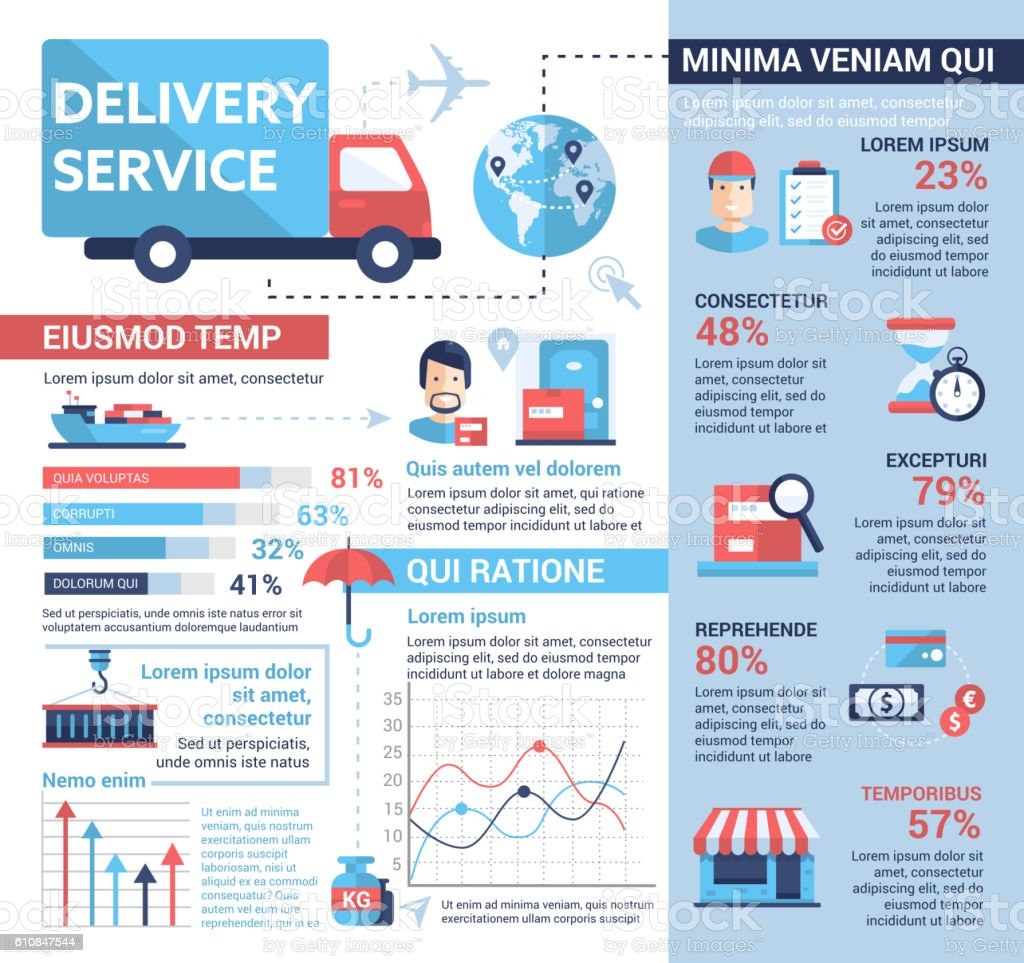 Delivery Service - poster, brochure cover template vector art illustration