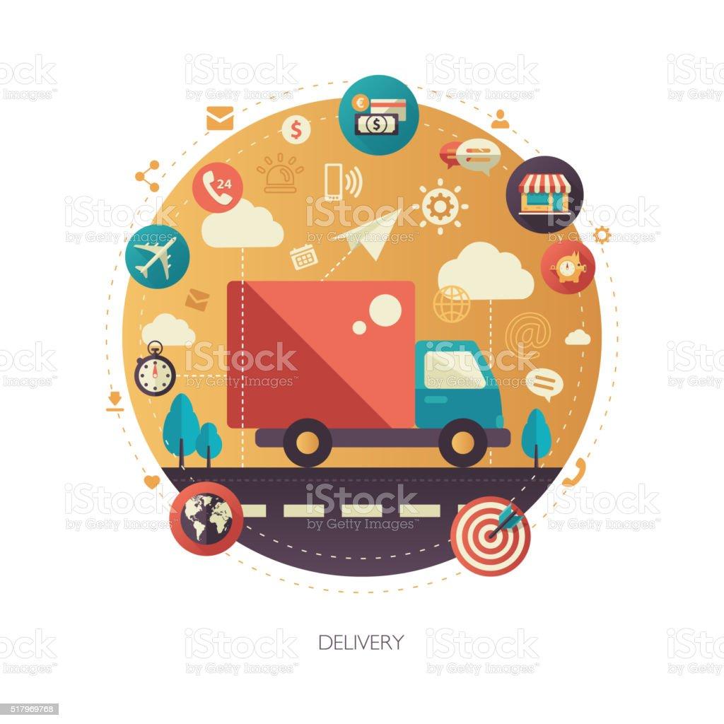 Delivery services modern flat design business infographics illustration vector art illustration