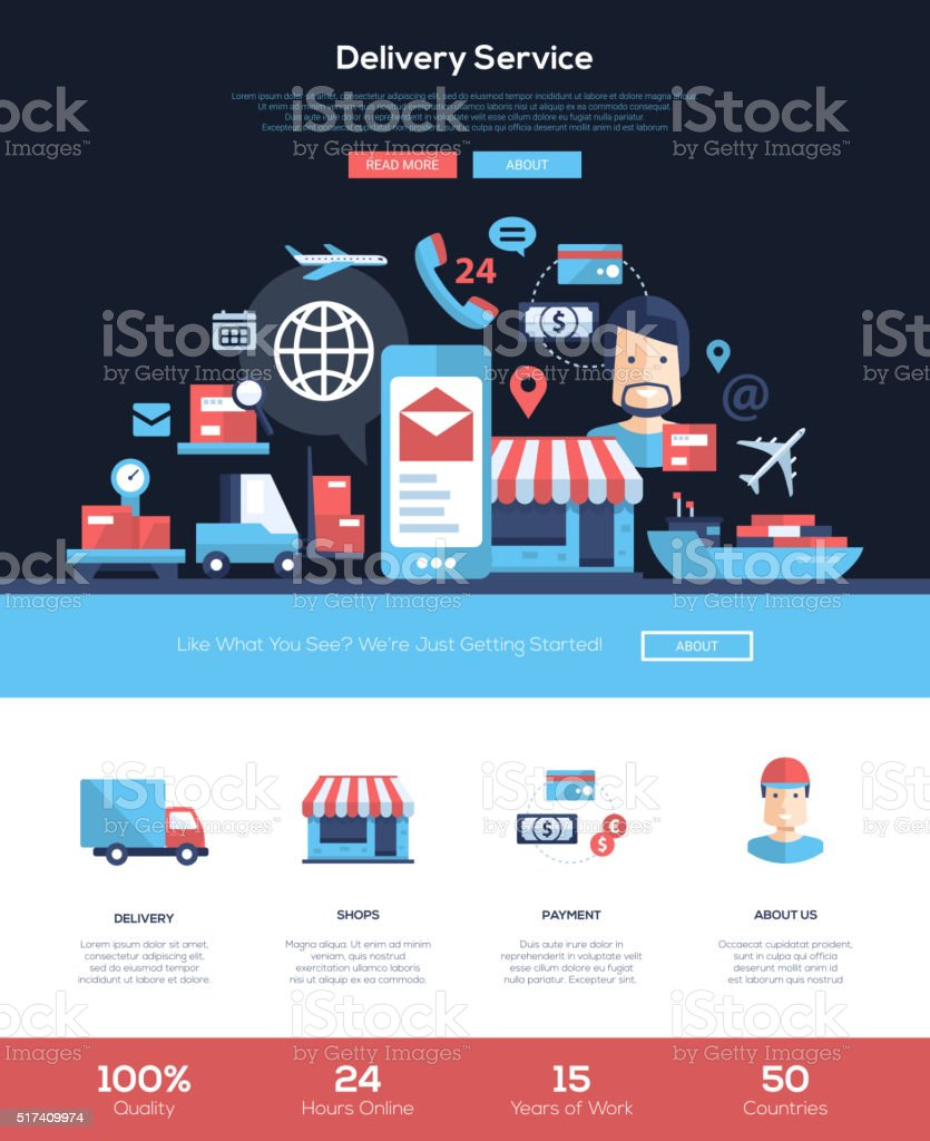 Delivery services website header banner with webdesign elements vector art illustration