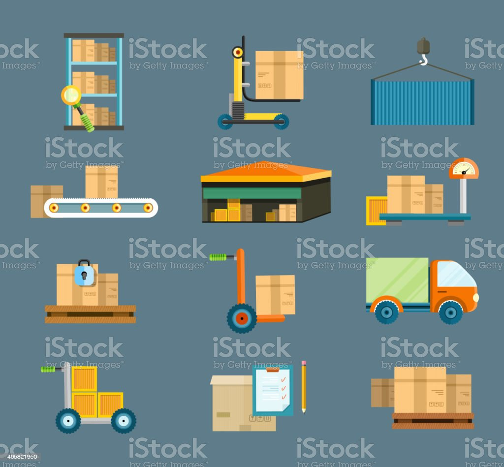 Delivery shipping concept icons vector art illustration