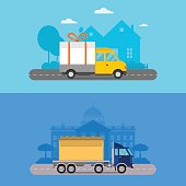 Delivery transport cargo logistic vector illustration.