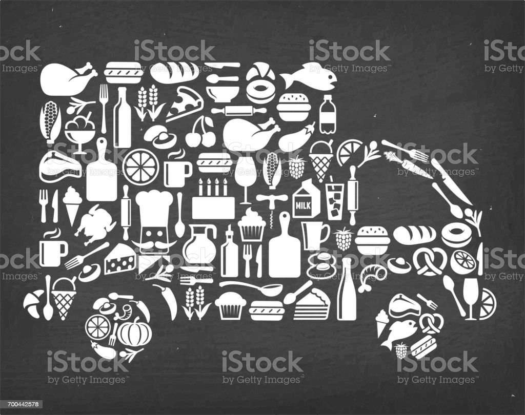 Delivery Truck Food & Drink royalty free vector icon pattern. This...