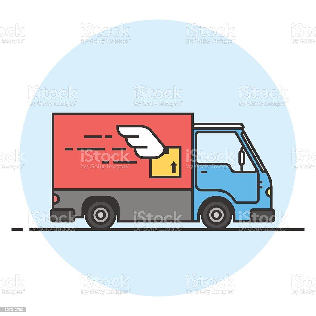 Delivery truck. Goods delivery car vector art illustration