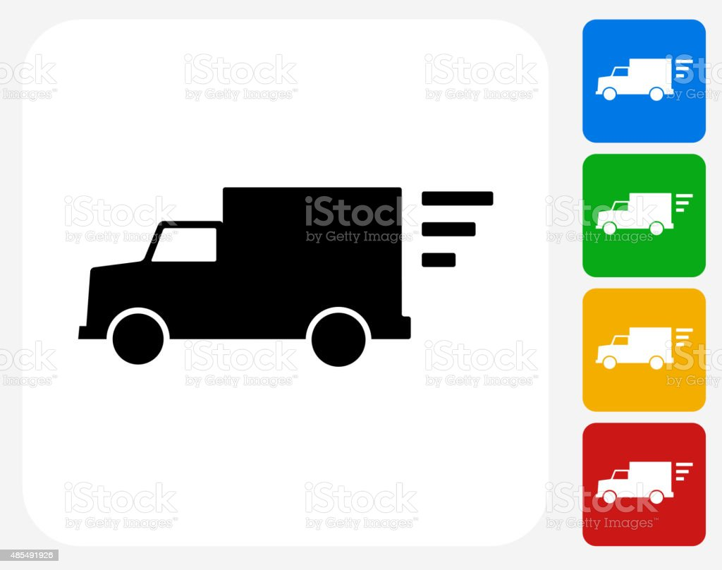 Delivery Truck Icon Flat Graphic Design vector art illustration