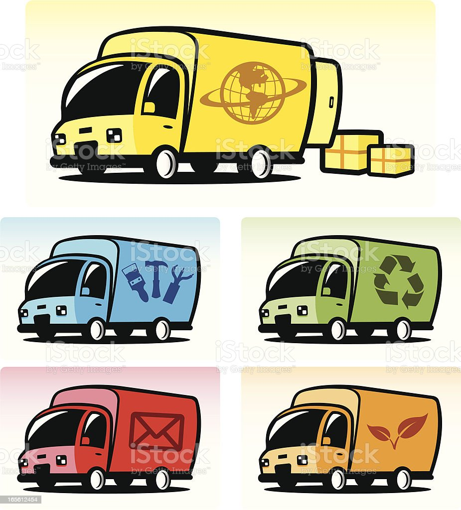 Delivery Truck Icons vector art illustration