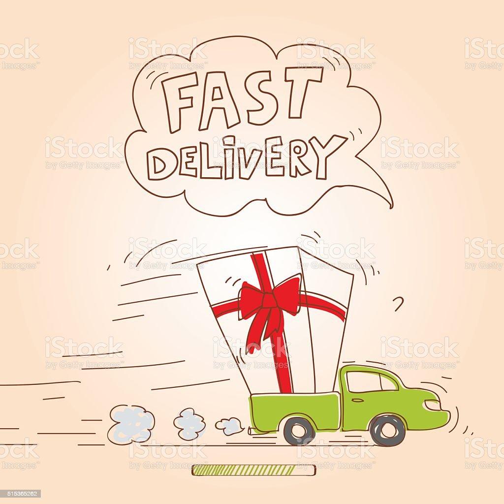 Delivery Truck - Illustration vector art illustration