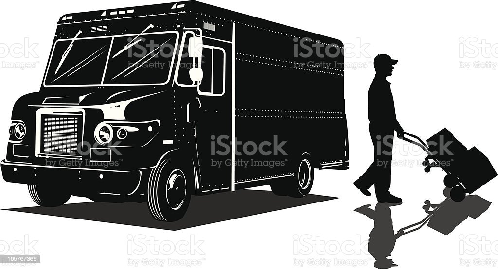 Delivery Truck - Man and Packages vector art illustration