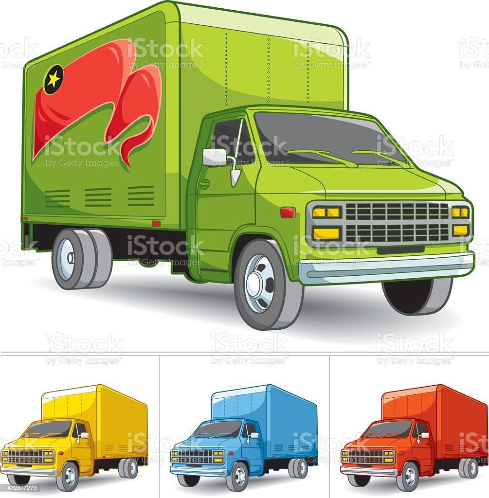 delivery truck set vector art illustration