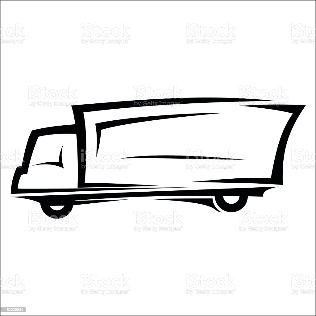 Delivery truck sketch vector art illustration