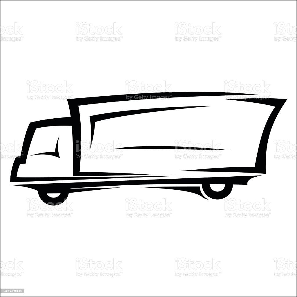 Delivery truck sketch vector art illustration