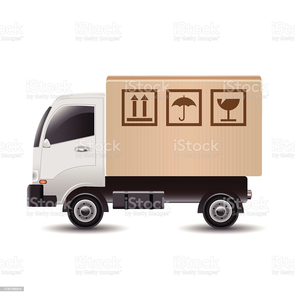 Delivery truck with a cardboard box vector art illustration