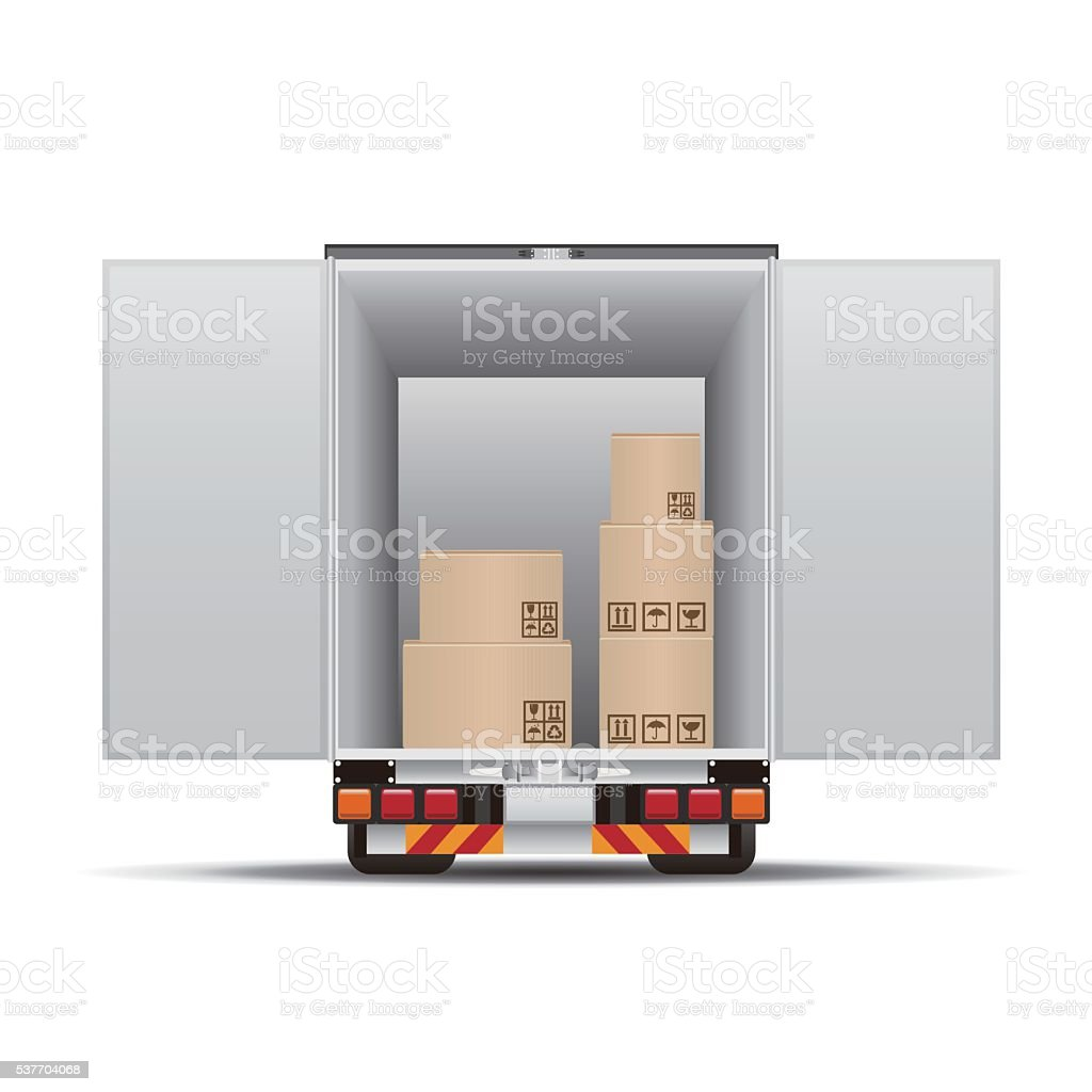 Delivery truck with boxes vector art illustration