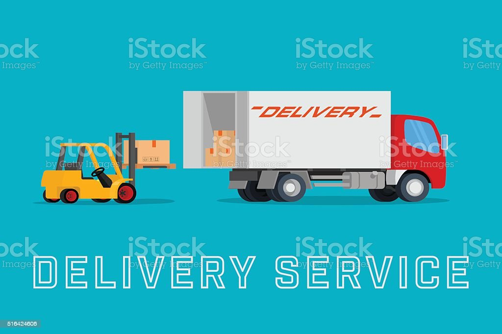 Delivery truck with forklift loading box into the car vector art illustration
