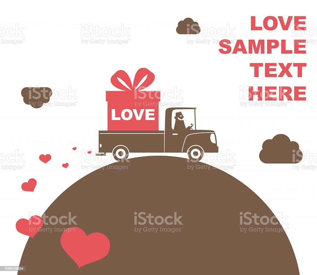 Delivery truck with gift box with ribbon bow (Christmas, Valentine) vector art illustration