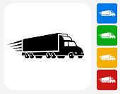 Delivery Trucks Icon Flat Graphic Design