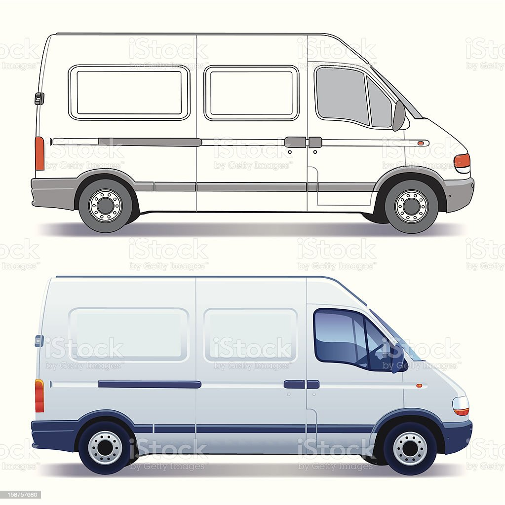 Delivery van designs with blue Windows vector art illustration
