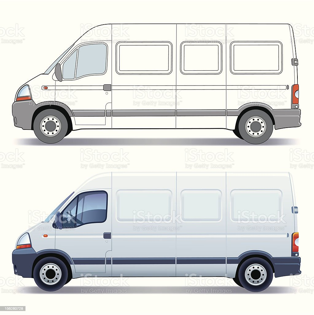 Delivery van illustrated in vector and 3D designs vector art illustration