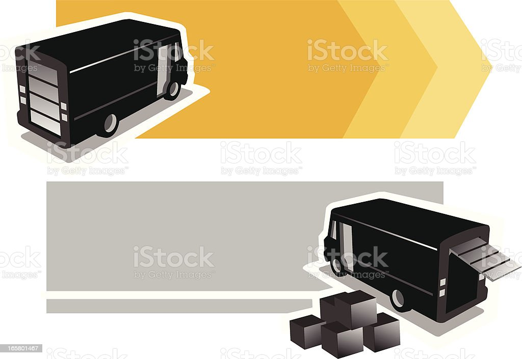 delivery van with banner royalty-free stock vector art
