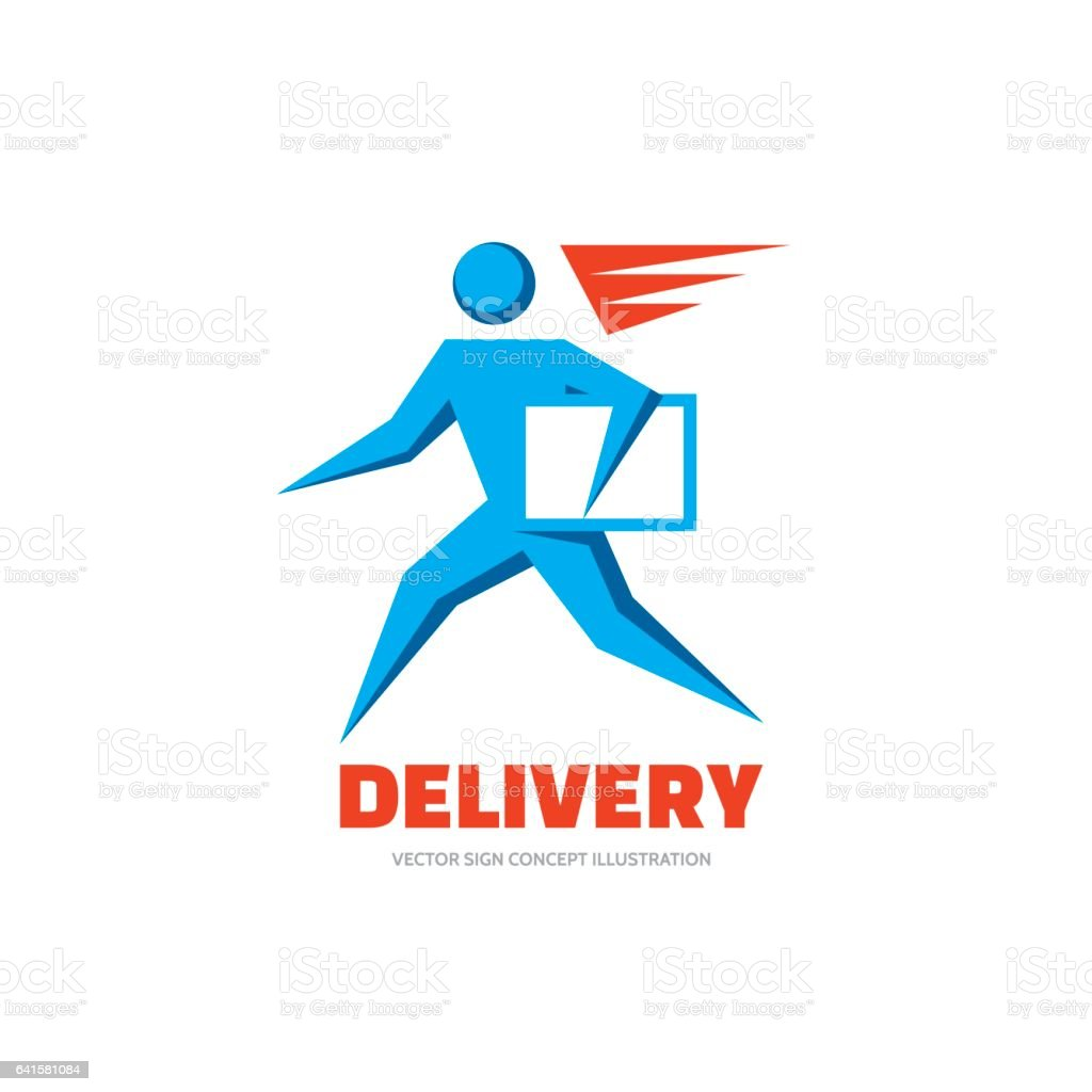 delivery vector logo template concept illustration running man