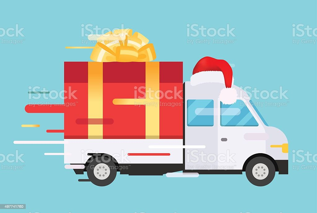 Delivery vector transport truck, van with gift box pack vector art illustration