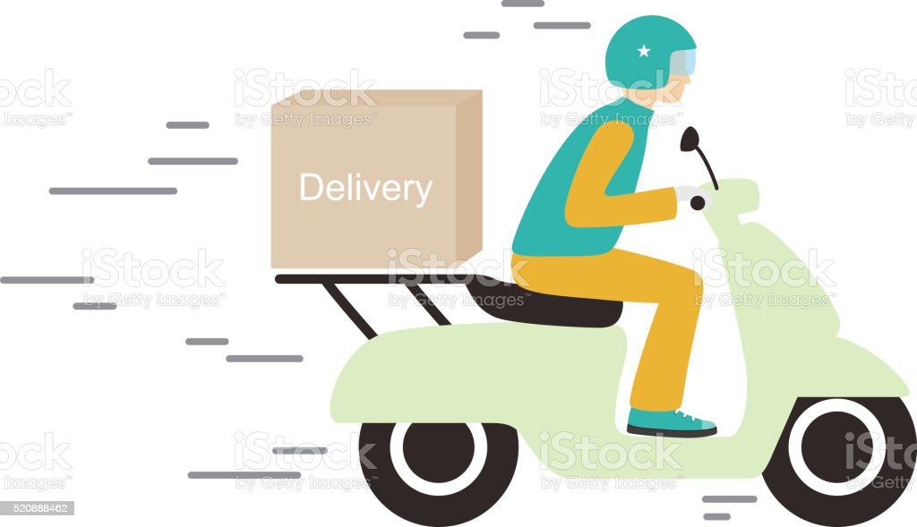 delivery with motorcycle, vector vector art illustration