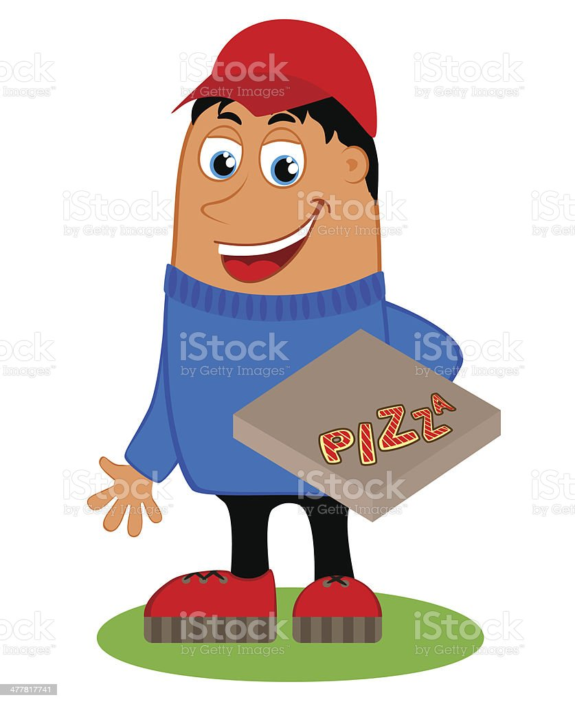 Delivery with the box pizza royalty-free stock vector art