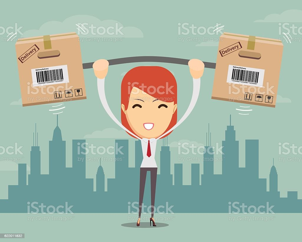Delivery woman. Cartoon character with cartons box . vector art illustration