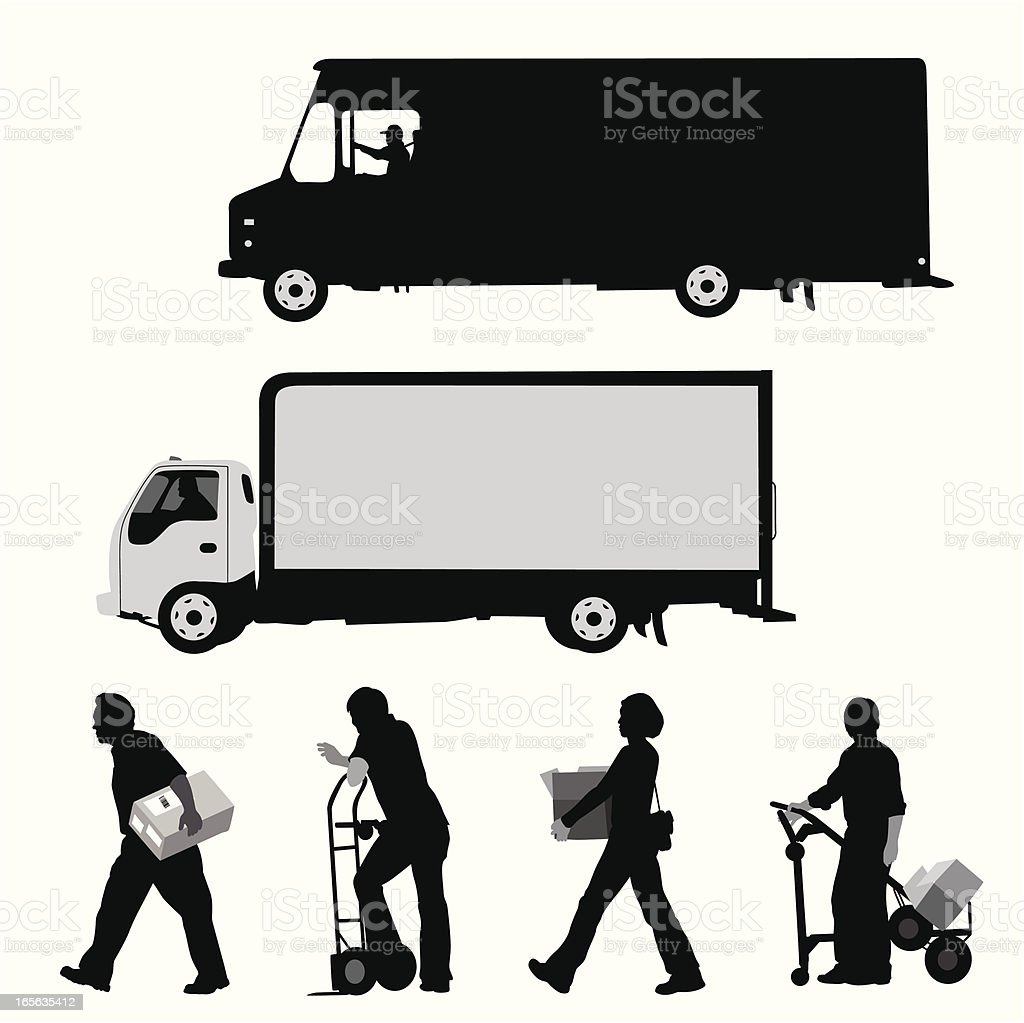 Delivery Workers Vector Silhouette vector art illustration