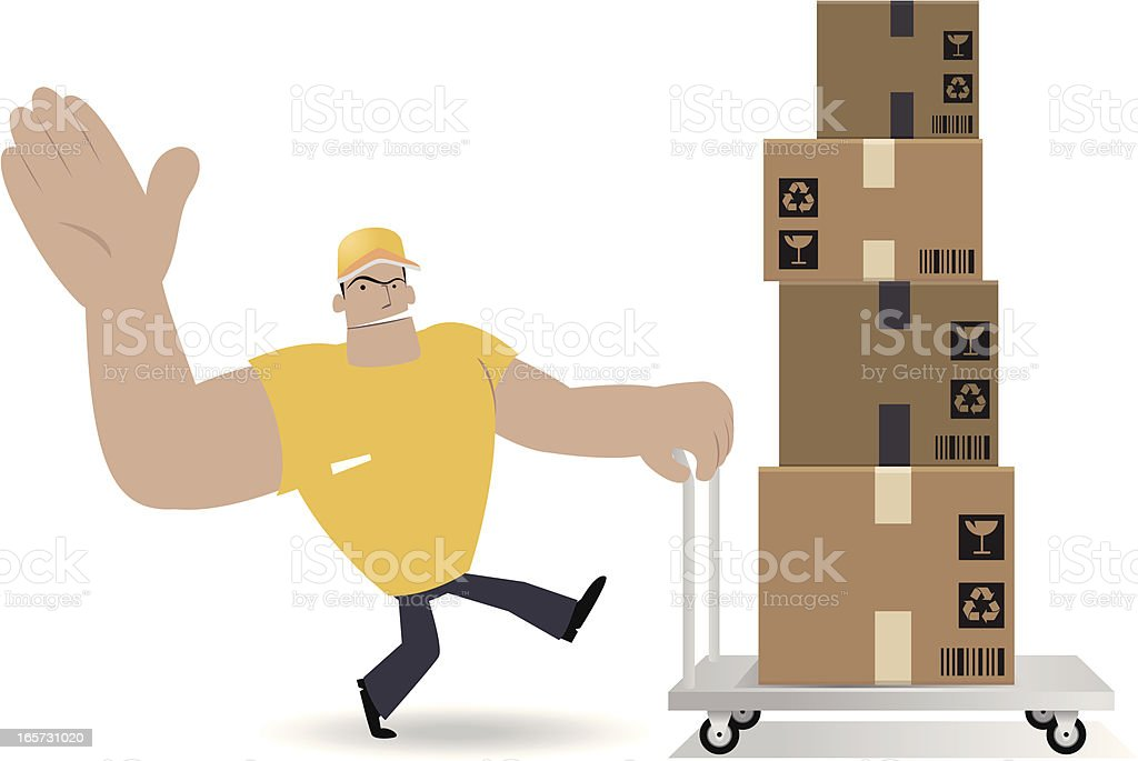Deliveryman Moving Cardboard Box With Hand Truck vector art illustration