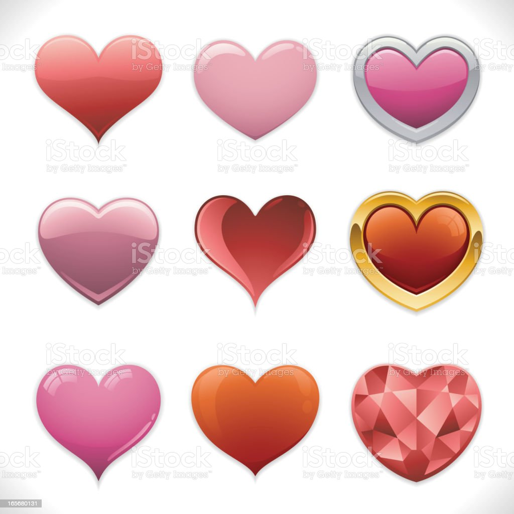 Deluxe Heart Icons vector art illustration