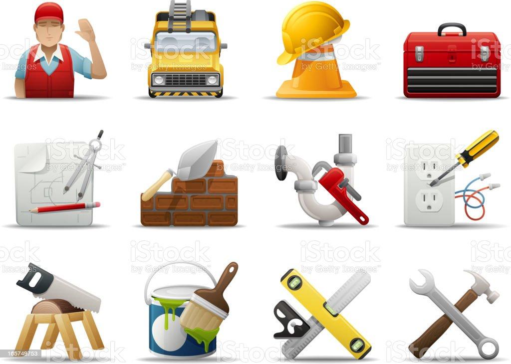 Deluxe Icons - Handyman Tradesman vector art illustration