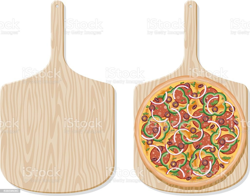 Deluxe Pizza on a traditional wooden paddle, overhead view vector art illustration