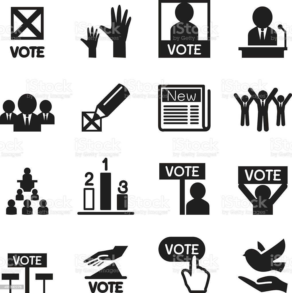 Democracy icon set vector art illustration
