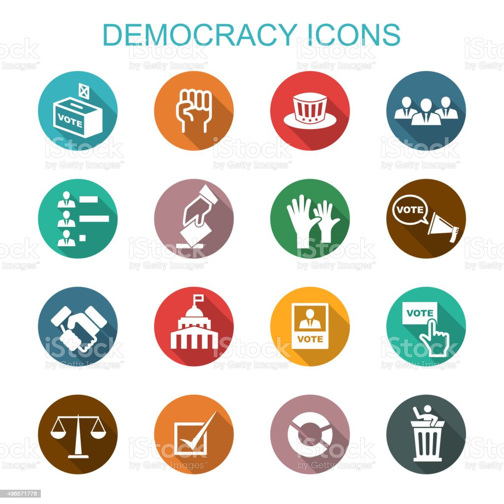 democracy long shadow icons vector art illustration