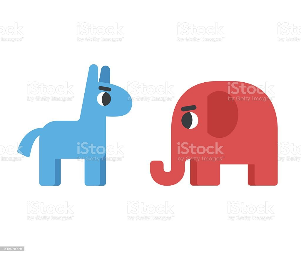 democrat and republican symbols vector art illustration