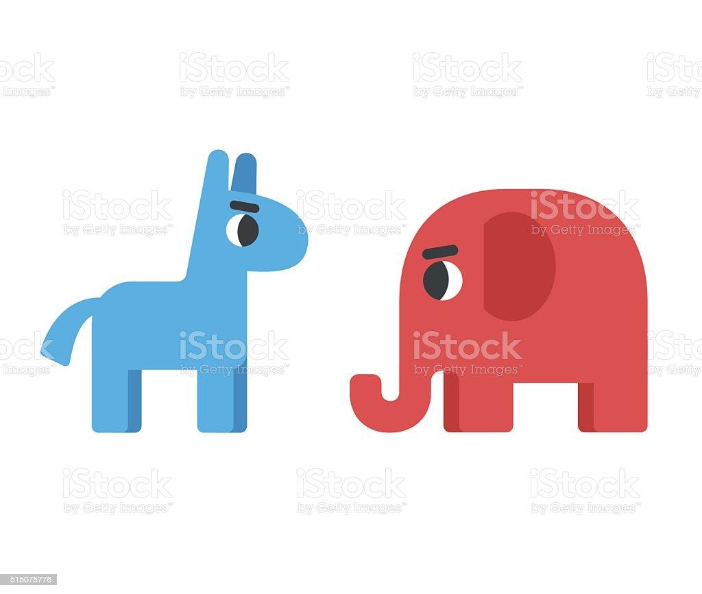 democrat and republican symbols vector art illustration