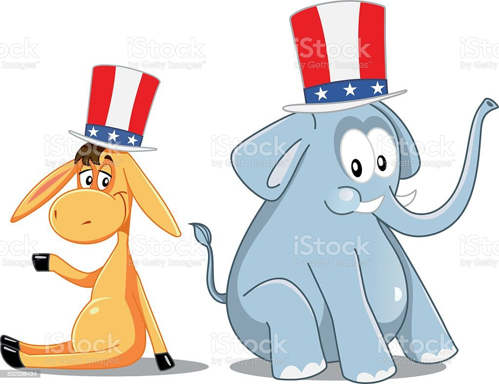 Democrat Donkey and Republican Elephant Vector Election Cartoon vector art illustration