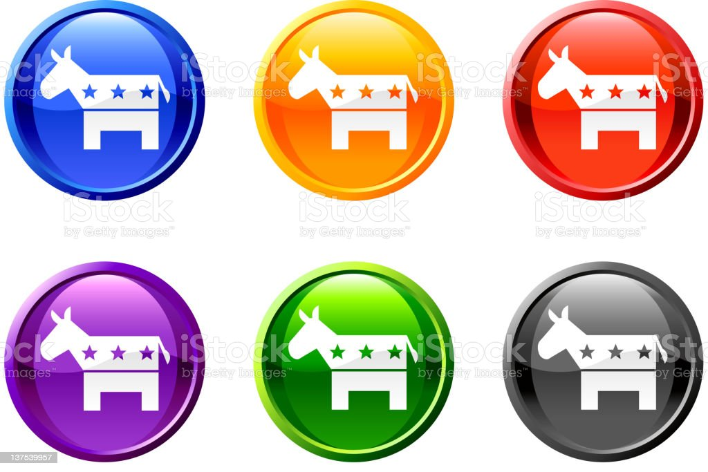 Democrat donkey button royalty free vector art royalty-free stock vector art