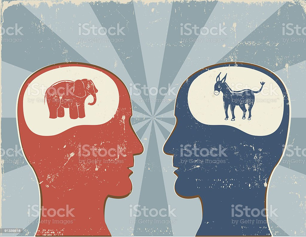 Democrat vs. Republican Profiles Radiating Background royalty-free stock vector art