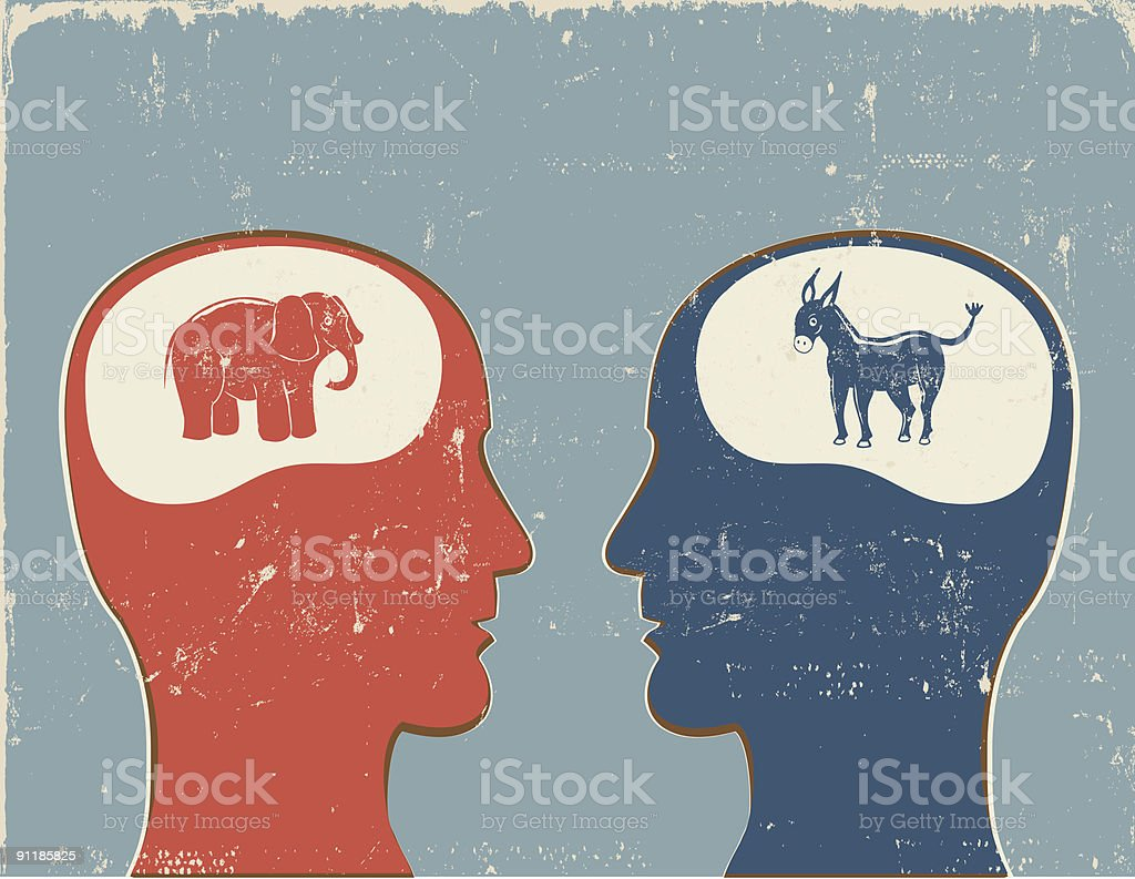 Democrat vs. Republican vector art illustration