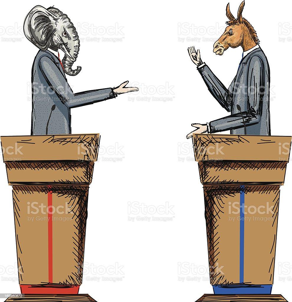 Democratic and Republican Debate royalty-free stock vector art