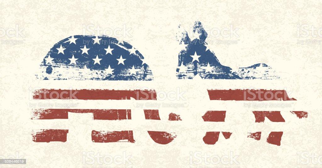 Democratic and Republican Political Symbols vector art illustration