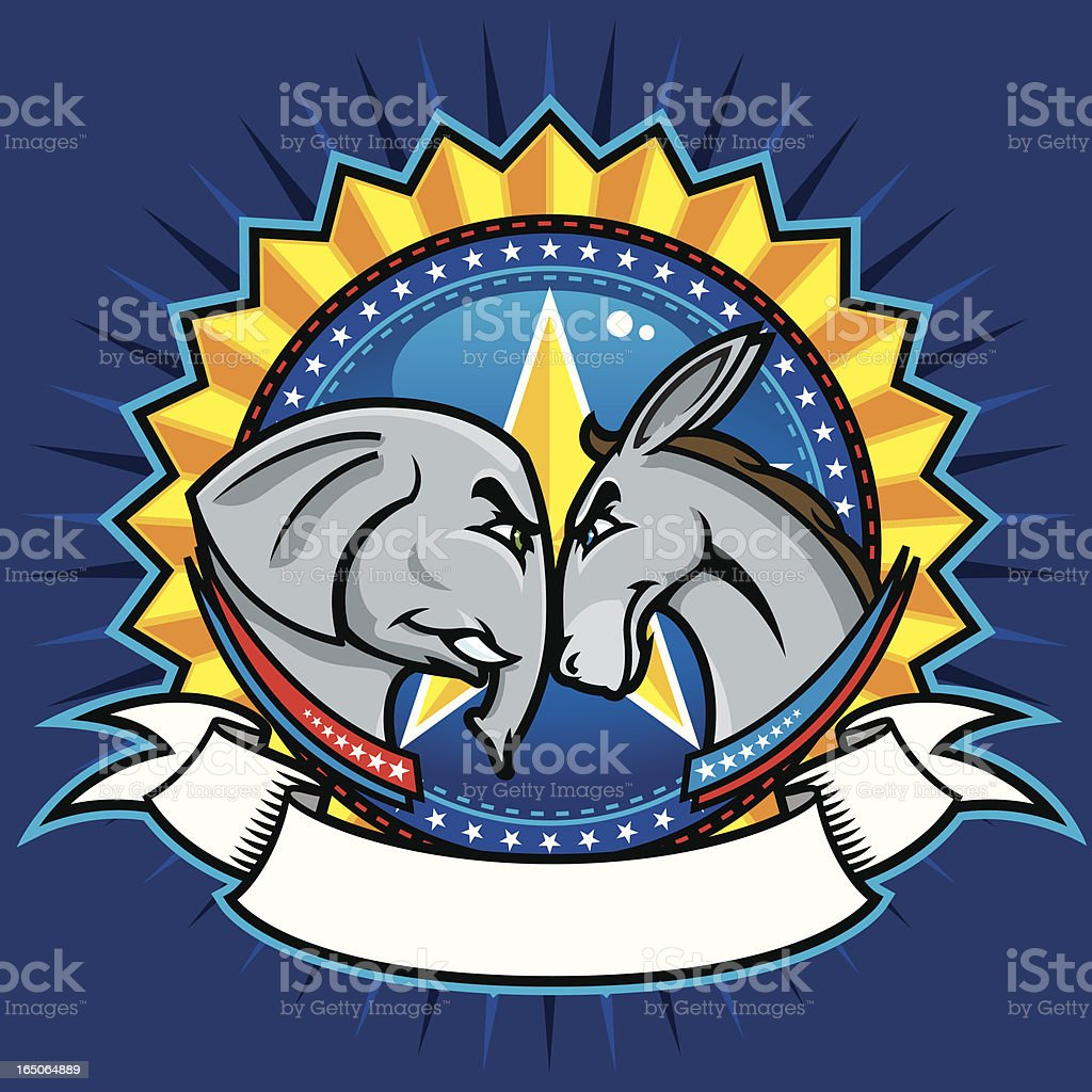 Democratic and Republican Symbols vector art illustration