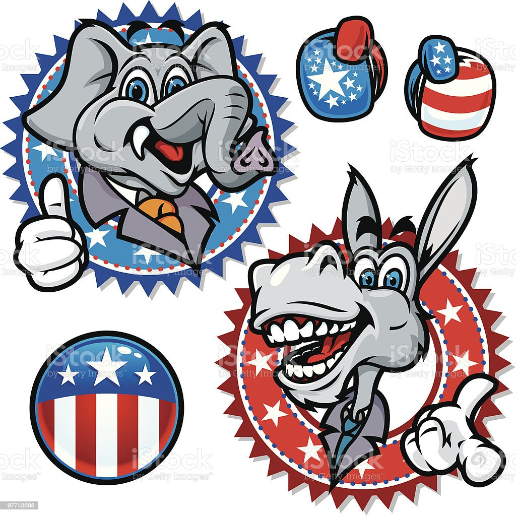 Democratic and Republican Symbols royalty-free stock vector art