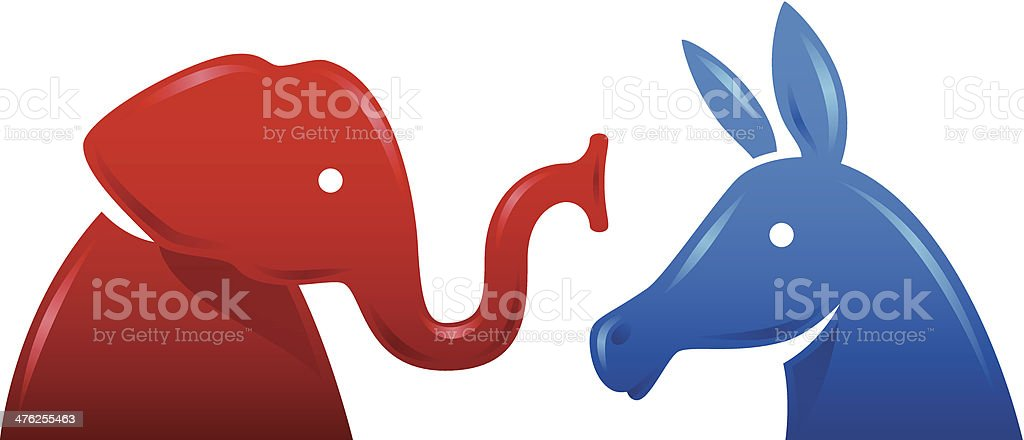 Democratic Donkey and Republican Elephant Symbols vector art illustration