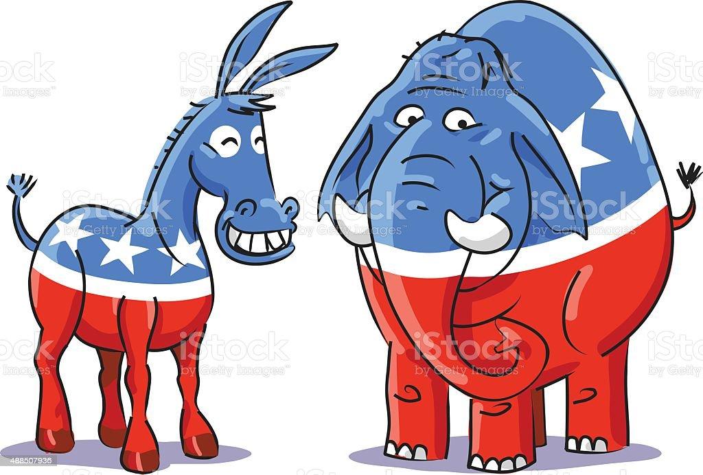 Democratic Donkey And Republican Elephant vector art illustration