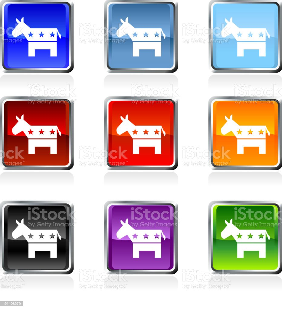 Democratic Donkey royalty free vector icon set in nine colors royalty-free stock vector art
